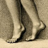 Sketch of a pair of bare feet standing on tiptoes