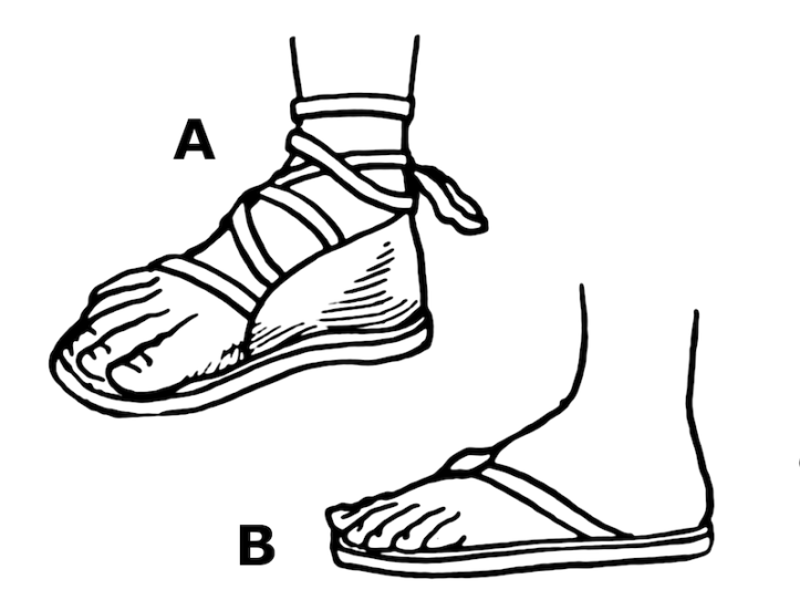Line drawings of roman sandal and flip flop