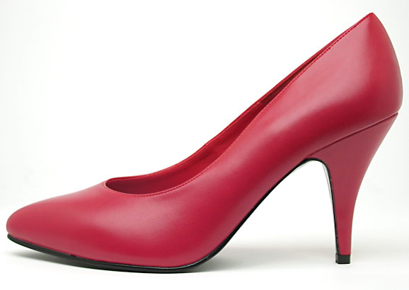 Red leather shoe with high heel