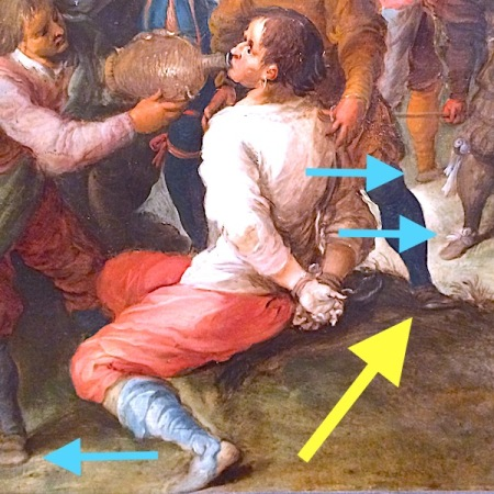 Colored arrows pointing at shoes in a painting.